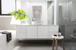 porcelain all white modern bathroom