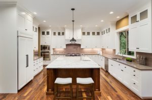 large wooden marble top kitchen