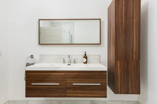 wooden modern bathroom