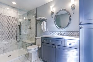 remodeled bathroom with walk in shower