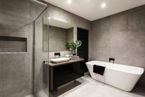 Modern,Bathroom,With,A,Shower,Area,And,Bath,Tub,Including