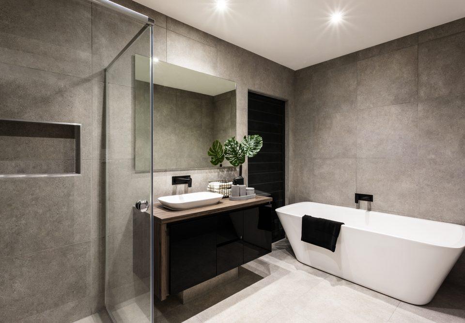 Modern,Bathroom,With,A,Shower,Area,And,Bath,Tub,Including